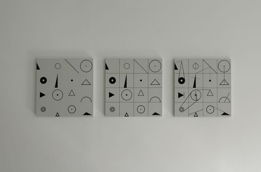 Lineation, 2013, acrylic on canvas, clock, 40x40cm each(total 3 pieces)