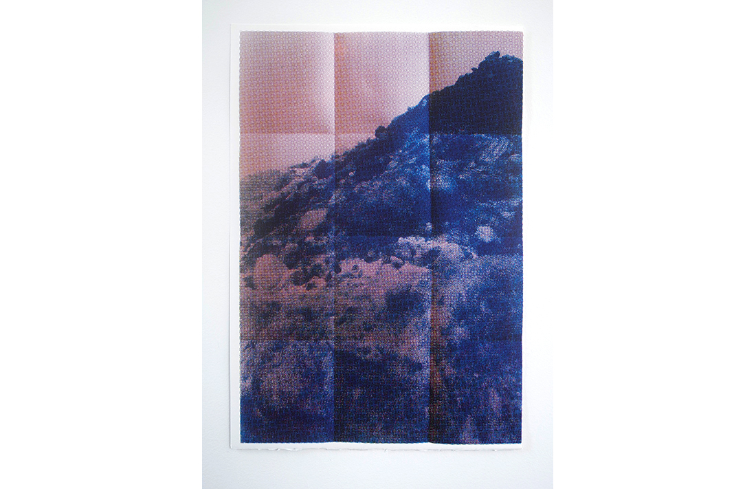 Hollywood Hills - Folded Peaks Blue, 2014, hand-pulled screen print, printed on 100% cotton, fine art paper, 55.8x38cm, ed.12/20