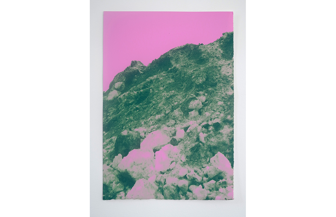 Hollywood Hills - Pink Green Peaks, 2014, hand-pulled screen print, printed on 100% cotton, fine art paper, 55.8x38cm, ed.9/20