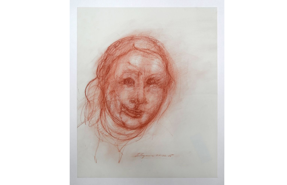 Elaine, 2015, red chalk on rag (acid free) paper, 43.3x35.6cm