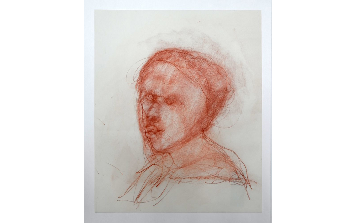 Francis, 2015, red chalk on rag (acid free) paper, 43.3x35.6cm